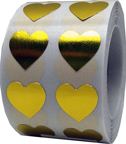 Metallic Gold Heart Stickers Valentine's Day Crafting Scrapbooking 0.50 Inch 1,000 Adhesive Stickers