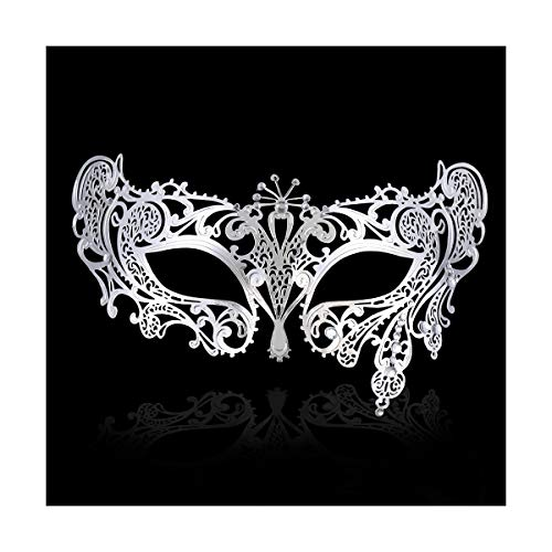 FaceWood Masquerade Mask for Women Ultralight Gorgeous Gold & Silver Shiny Metal Rhinestone Mask. (Peacock Silver) -