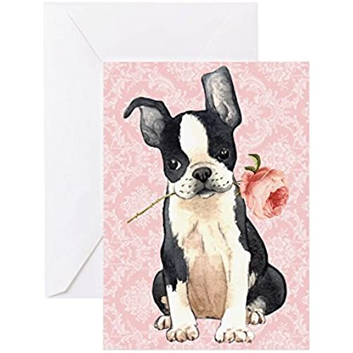 CafePress - Boston Terrier Rose - Greeting Card, Note Card with Blank Inside, Birthday Card or Special Occasion Sales