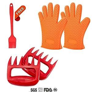 topsense garra de oso garras de carne manipuladores de Shredder tenedores + guantes de silicona barbacoa guantes con libre cepillo de silicona (1+ 1par de garra de guante de silicona + 1pincel de silicona)