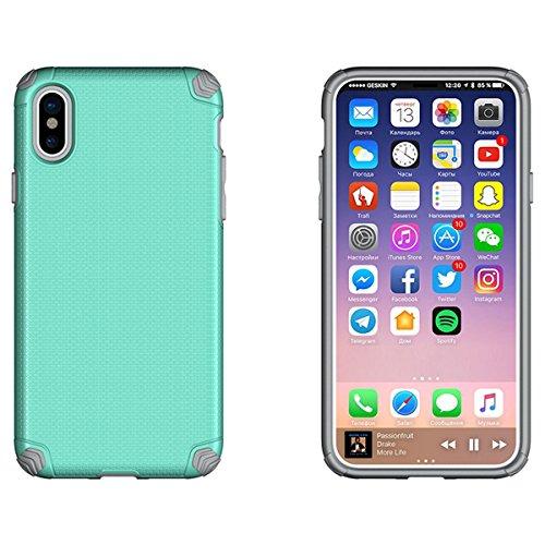 CarcasaiPhone X, LifeePro Funda de la Caja del Teléfono a Prueba de Golpes TPU + PC Armadura Combinada híbrida Caso de Alto Impacto Durable Phone Defender (Azul) Menta Verde