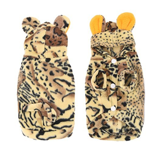 [DealMux Dog Pet Puppy Plush Cosplay Tiger Grain Pattern Hoodie Outer Wear Clothes] (Felpa Hoody)