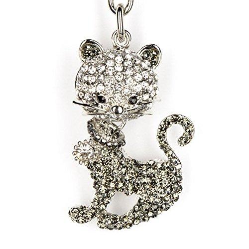Lilly Rocket Rhinestone Bling Tabby Cat Kitten Kitty Key Chain With Swarovski Crystal