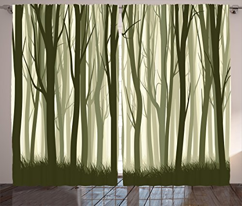Apartment Decor Curtains by Ambesonne, Mother Nature Theme Illustration of Misty Forest with Trees, Living Room Bedroom Window Drapes 2 Panel Set, 108 W X 63 L Inches, Army Green and Sage (Forest Green Sage)