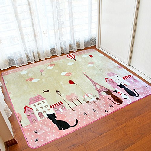 Wolala Home Soft and Smooth Coral Fleece Rug Cute Cat Thicking Non Skid Girls Bedroom Carpet Foot Mats(4'3x6'0, Pink)