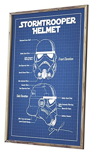 Star Wars Assorted Design Patent Art Poster 18 x 24 inch Silk Screen Prints (Star Wars Characters: Stormtrooper Helmet - Blue Grid)