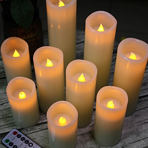 Pandaing Flameless Candles Battery Operated LED Pillar Real Wax Flickering Electric Unscented Candles with Remote Control Cycling 24 Hours Timer, Ivory Color, Set of 9 by Pandaing (Image #3)