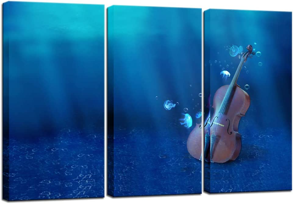 Biuteawal 3 Piece Violin Wall Art Loneliness Creation Musician Picture Canvas Prints Music Poster Painting for Living Room Classroom Bedroom Wall Decor Framed Ready to Hang