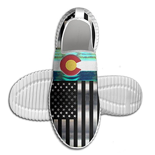 Eij Ei Usa Colorado Vlag Womens Heren Instappers Loopschoenen Ademend Gaas Outdoor Sport Wandelschoenen Wit