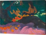"""This 29""""x38"""" premium giclee canvas art print of Fatata te Miti (By the Sea) by Paul Gauguin is created on the finest quality artist-grade canvas, utilizing premier fade-resistant archival inks that ensure vibrant lasting colors for years to come. Eve..."""