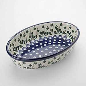 Polish Pottery Oval Oven Serving Dish – Love Leaf – 24 x 16cm