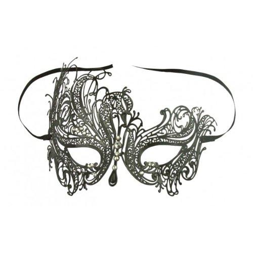 Burlesque-Boutique Black Swan Metal Filigree Laser Cut Venetian Masquerade Mask w/ Rhinestones Clear