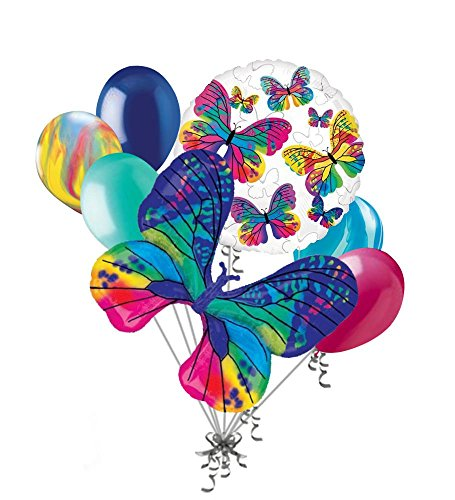 7pc Beautiful Colorful Butterfly Happy Birthday Balloon Bouquet Party Decoration (Happy Birthday Bouquet)