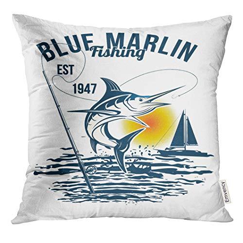 Blue Marlin Pillow - VANMI Throw Pillow Cover Bass Blue Marlin Fishing Black Marline White Camp Sailfish Decorative Pillow Case Home Decor Square 20x20 Inches Pillowcase