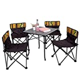 Coolsunny Lightweight Portable Folding Chairs Table Set(4 Chairs + 1 Table), Outdoor Indoor Compact Ultra Foldable Camp Beach Picnic Fishing Backpacking Camping Set with Free Carrying Bag