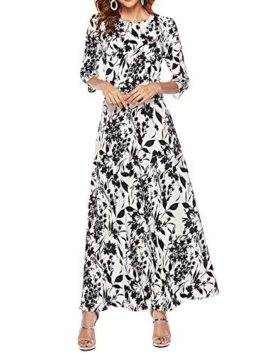 Simple Flavor Womens 3/4 Sleeve Vintage Floral Print Maxi Dress