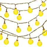 Dailyart 13feet/4m Waterproof IP44 Long Globe String Light Starry Light for Gardens, Homes, Wedding, Christmas Party, Battery-powered (Beige)