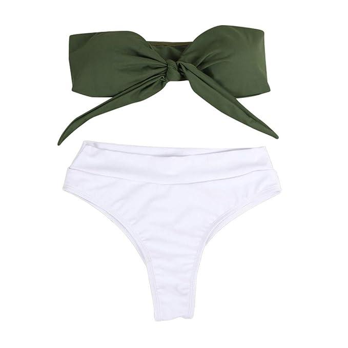 2d2d73bebe47 Traje de baño de Verano para Mujer Traje de baño sólido Bikini ...