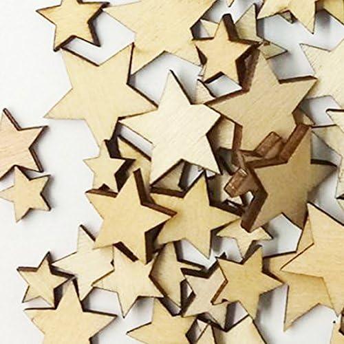 Mixte Taille /étoiles Naturel uni en bois style shabby chic vintage craft Scrapbooking Confetti Star 9mm-30mm Bois dense beige