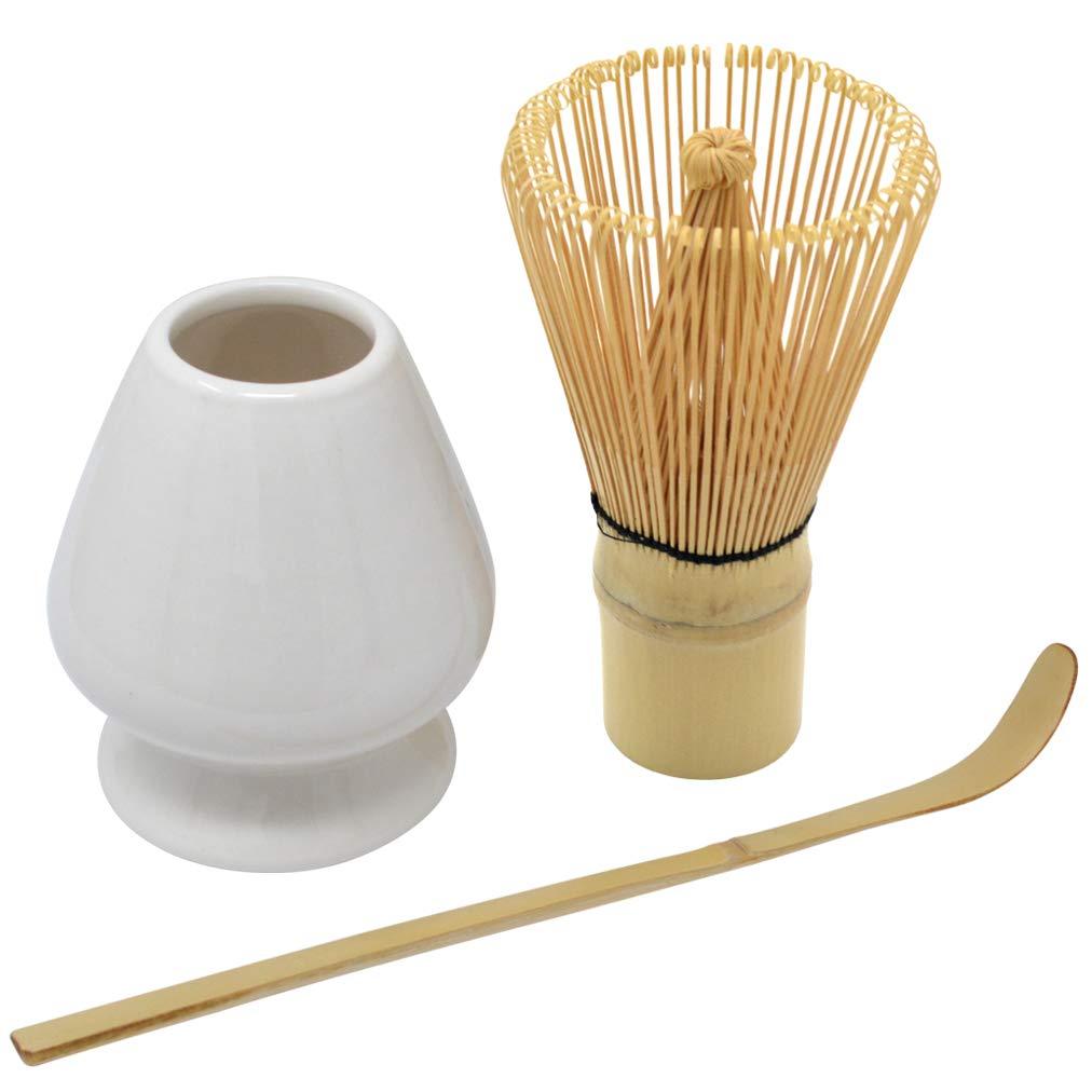 Bskifnn Japanese Tea Set-3PC Japanese Matcha Ceremony Accessory,Matcha Whisk,Whisk Holder,Tea Spoon Perfect Set to Beginner (White)