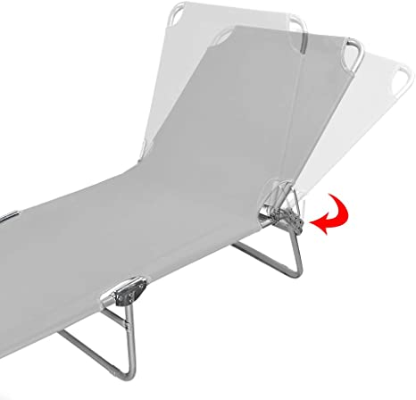 HENGMEI Tumbona de Playa Plegable Tumbona Inclinable Tumbona de Aluminio 188 x56 x 27 cm Gris