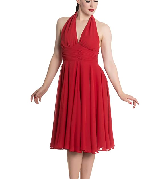 ff8a8a876d33f0 Hell Bunny Pinup Party Cocktail 50s Dress Marilyn Monroe Vintage Red L 14.  Roll over image to zoom in