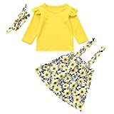 NUWFOR Toddler Baby Girls Solid Tops+Overalls Floral Skirt+Headbands Clothes Outfits(Yellow,12-18 Months