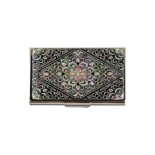Ladies Business Card Holder - business name card holder stainless steel case Mother of Pearl Art Arabesque