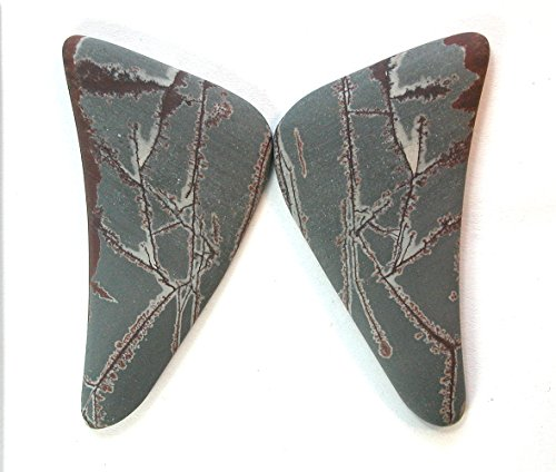 Jasper Cabochons Matched - DVH Sonora Dendritic Rhyolite Butterfly Cut Matched Pair Cabochon 52x26x5mm each (9708)