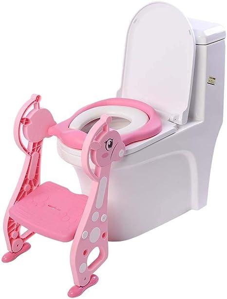 Orinal de inodoro con escalera, entrenamiento infantil ajustable con cojín acolchado, asiento plegable para niños con escalera antideslizante: Amazon.es: Bebé