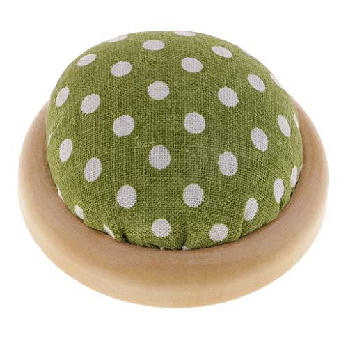 Baosity Vintage Half Round Pin Cushion with Wooden Base, Needle Storage Holder for Sewing Stitching Needlepoint - ()