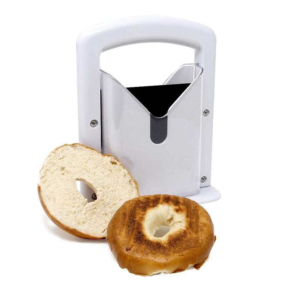 Urnanal Bagel Guillotine Slicer, Multipurpose Bagel Slicer Kitchen Baking Tools Smooth Slicing Accommodate Muffins Rolls and Bagels of Various Sizes