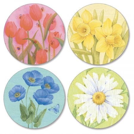 Springtime Delights Every Day Envelope Seals (4 Designs) - Set of 144 1-1/2 diameter Self-Adhesive, Flat-Sheet Every Day sticker Seals