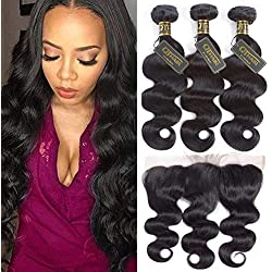 QTHAIR 10A Brazilian Body Wave Hair with Lace Frontal Closure(18 20 22+16Frontal,Natural Black)100% Unprocessed Brazilian Body Wave Human Hair with Body Wave Frontal Closure Top Lace Frontal Baby Hair