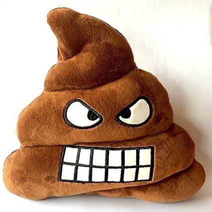 FRE caca de peluche en forma de cojín redondo con forma de almohada Angry para expresar