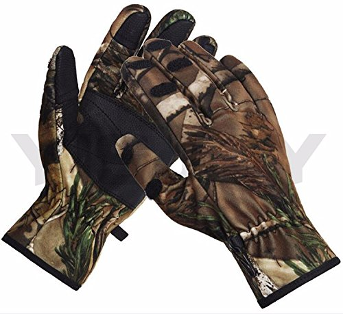 Gloves Thermal Hunting Realtree Like Pattern Fabric Thermal 4WAY Stretch Microfiber Suede Cowhide Leather Antislip Waterproof Lightweight Hunting Gloves ()
