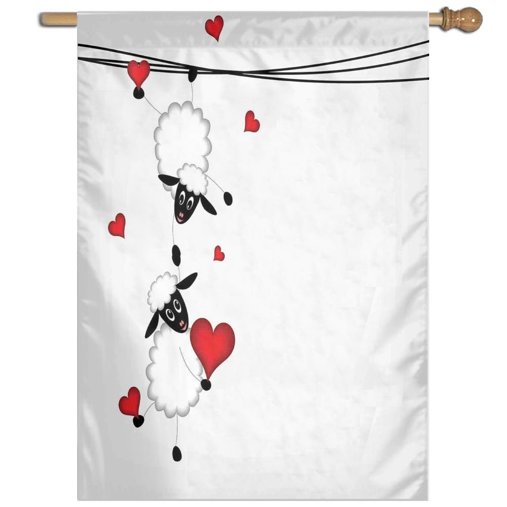 HUANGLING Sheep Couple With Heart Shapes In Love Hanging On Washing Line Fun Comic Cartoon Art Home Flag Garden Flag Demonstrations Flag Family Party Flag Match Flag 27''x37''