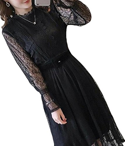 Mesh Black Fashion Dress Long Patchwork Women Jaycargogo Sleeve Ruffled P7CxwqOfEa