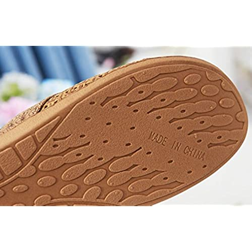 Cattior Womens Bow Flax Summer Slippers Outdoor Slippers