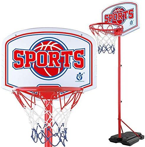 屋内バスケットボールラック ティーンエイジャーのバスケットボールは、アイアンショットフレーム屋内屋外のリフト子供バスケットボールスタンドラック スタンディングバスケットボールセット (Color : Red, Size : 1.60-2.15m)