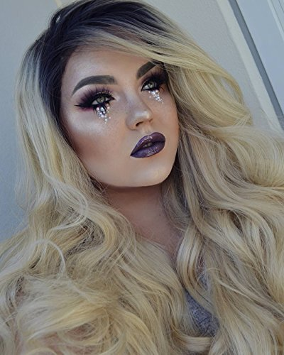 Heahair Sexy Dark Root Blonde Ombre Body Wave Handited Synthetic Ombre Lace Front Wigs for Party