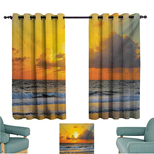 DONEECKL Kids Room Curtains Ocean Morning at The Beach in Brazil The Sun Rays Through The Clouds Over Sea Sunset Image Blackout Draperies for Bedroom Living Room W55 xL63 Orange Gray