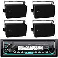 JVC Marine Boat Bluetooth USB AUX SD iPod/iPhone Pandora Receiver SiriusXM Ready 4-  2-Way 3.5 Inch Box Boat Speaker (2 pairs) - Great Outdoor Marine Bike Audio System