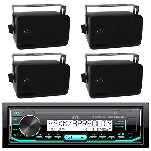 JVC Marine Boat Bluetooth USB AUX SD iPod/iPhone Pandora Receiver SiriusXM Ready 4-  2-Way 3.5