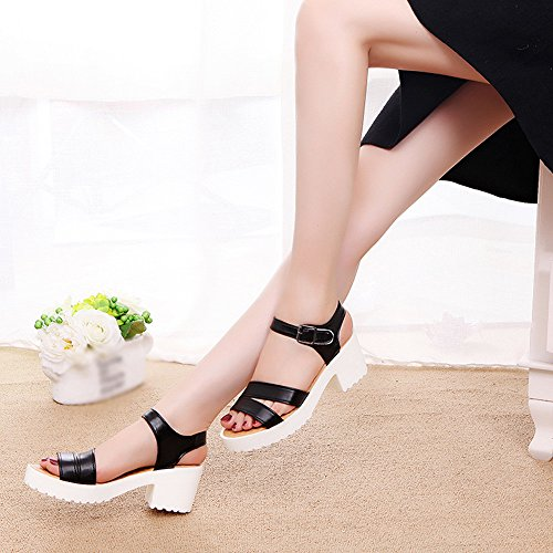 Wedges High Sandals Outdoor ��farjing Buckle For Sale Women Shoes Toe Black Round Womens clearance Platform Slope Heels xnUqwg7v