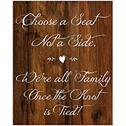 2 City Geese Choose A Seat Sign for Wedding Ceremony | Rustic Wood Look On Linen Textured Thick Cardstock Paper | Wedding Decoration