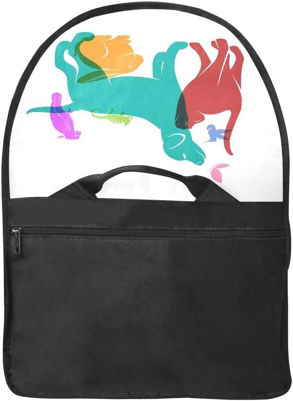 Ladies Satchel Handbags Vector Group of Pets Dog Cat Parrot Chameleon Multi-Functional Shoulder Bag Fit for 15 Inch Computer Notebook MacBook