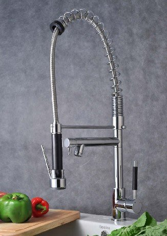 Single Handle Pull Down Pre Rinse Spring Kitchen Faucet With Two Swivel  Spouts, Chrome