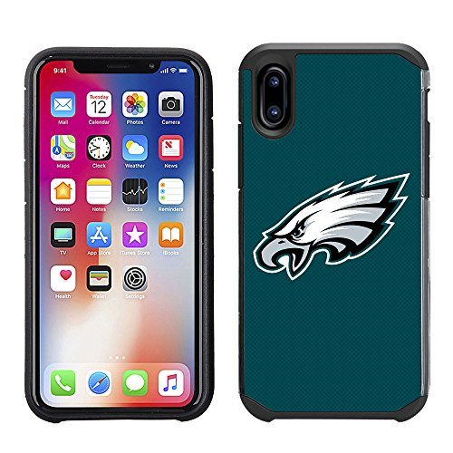 ell Phone Case for Apple iPhone X - NFL Licensed Philadelphia Eagles Textured Solid Color ()