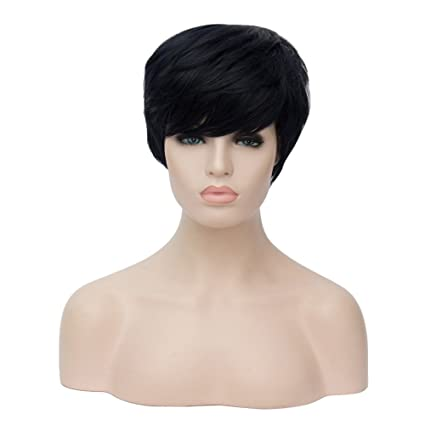 Image Unavailable. Image not available for. Color  aliveGOT Side Bangs  Human Hair Short Wigs ... 945e4a52f8